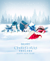 Photo sur Plexiglas Holiday Christmas background with a gift boxes and Santa hat. Vector.
