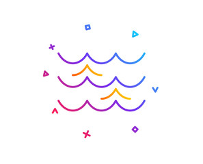 Waves line icon. Sea flowing sign. Water symbol. Gradient line button. Waves icon design. Colorful geometric shapes. Vector