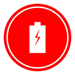 Batteryr icon vector illustration on red background.