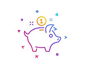 Saving money line icon. Piggy bank sign. Gradient line button. Saving money icon design. Colorful geometric shapes. Vector