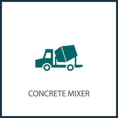 Concrete mixer truck glyph icon, transport and build, construction vehicle sign, vector graphics, a solid pattern on a white background, eps 10.