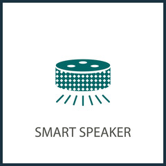 Small smart speaker with voice recognition flat vector icon for apps and websites
