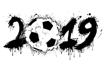 Abstract number 2019 and a soccer ball from blots
