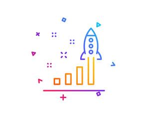 Development plan line icon. Launch Startup business sign. Innovation symbol. Gradient line button. Development plan icon design. Colorful geometric shapes. Vector