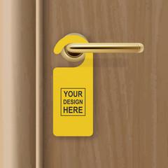 Vector realistic paper yellow door hanger on brown realistic wooden door with metal gold handle background. Door hanger mockup. Design template for graphics. Full length door is in a clipping mask