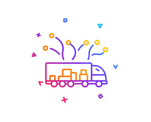 Truck transport line icon. Transportation vehicle sign. Delivery logistics symbol. Gradient line button. Truck delivery icon design. Colorful geometric shapes. Vector
