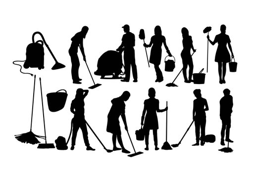 Cleaning Service Silhouettes, art vector design