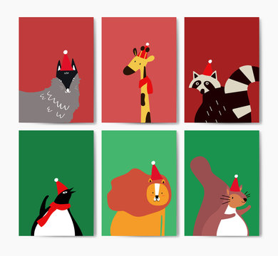 Collection of cute animals wearing Santa hats in cartoon style vector