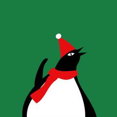 Cute penguin with a Christmas hat cartoon vector