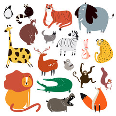 Collection of cute wild animals in cartoon style vector