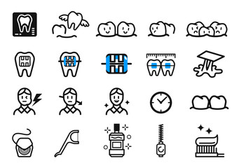 Getting Braces and dental Treatment at orthodontic clinic. Oral care concept icon.