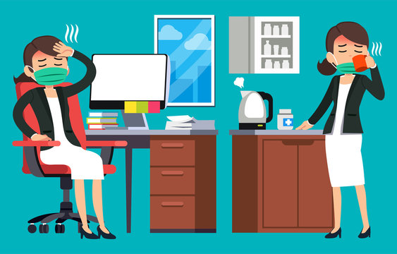 Office worker is sick. Basic health care of employee in work to continue working.