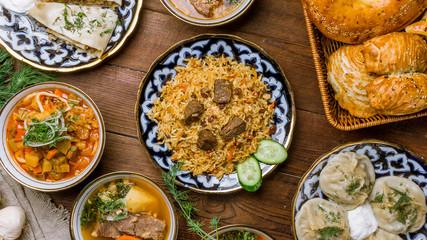 dishes of Uzbek cuisine lagman, pilaf