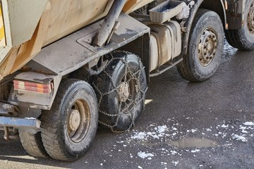 Truck awith snow chain