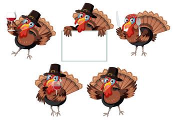 Turkey character on white background