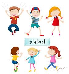 Set of elated kids