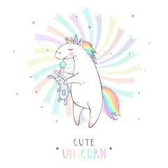 Vector illustration of hand drawn cute unicorn with bunny toy and text - CUTE UNICORN on withe background. Cartoon style. Colored.