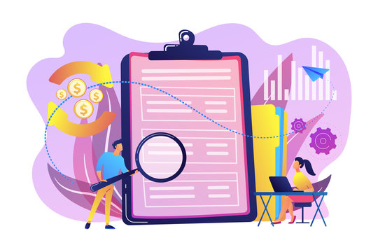 Financial analyst with magnifier looking at cash flow statement on clipboard. Cash flow statement, cash flow management, financial plan concept. Bright vibrant violet vector isolated illustration