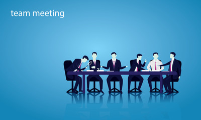 Team Meeting Discussion, Teamwork Vector Illustration Concept