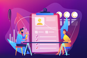 Employer meeting job applicant at pre-employment assessment. Employee evaluation, assessment form and report, performance review concept. Bright vibrant violet vector isolated illustration