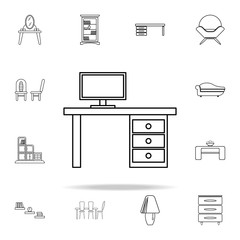 computer table icon. Furniture icons universal set for web and mobile