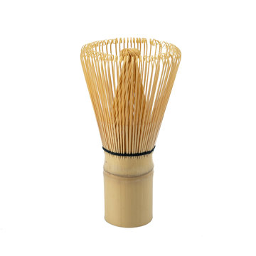 Japanese Bamboo Brush Tea Whisk or Chasen isolated on White Background.traditional japanese tea whisk matcha green tea