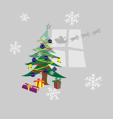 vector decorated christmas tree and presents under it