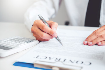 Business man Sign agreement contract, Insurance Home concept