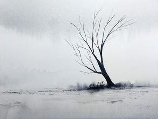 watercolor painting landscape lonely dead tree in the winter season.
