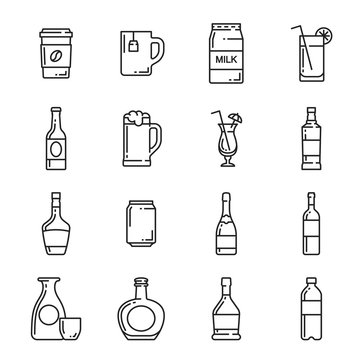 Drinks bottle, cup and mug vector icons