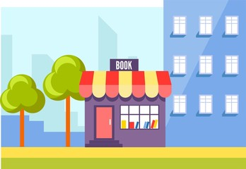 Book store in city, urban shop with press