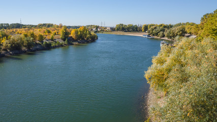 Great river bend. Landscape with a large river.