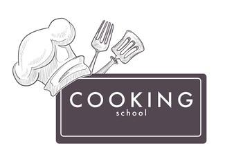 Cooking school monochrome sketch outline chefs hat cap