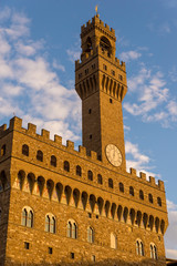 FLORENCE, ITALY - OCTOBER 28, 2018: The Palazzo Vecchio is the town hall of Florence,elo's David statue as well as the gallery of statues in the adjacent Loggia dei Lanzi.