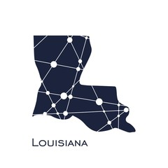 Image relative to USA travel. Louisiana state map textured by lines and dots pattern