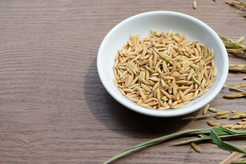 Organic Paddy Seeds, Unmilled Rice on wood background with copy space, healthy food...