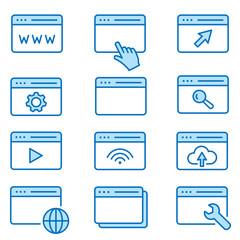 Browser flat line icon set. Vector illustration. Editable stroke.