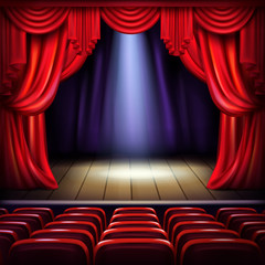 Theater or concert hall stage with opened red curtains, spotlight beam spot in center and empty visitors seats realistic vector illustration. Music concert, theatrical performance or premiere concept