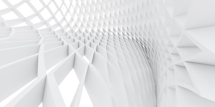 Abstract of white architectural structure pattern,Concept of future design on architecture,3d rendering
