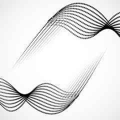 Abstract halftone wave, dotted background. Vector design