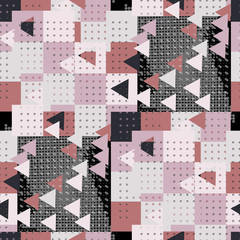 Seamless pattern urban design. Mixed print with halftone triangles and dots. Watercolor effect. Suitable for bed linen, leggings, shorts and fashion industry.