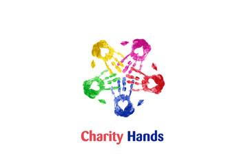 Hands print teamwork watercolor logo