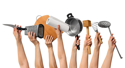 kitchen tools in human hands