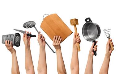 kitchen utensils in human hands