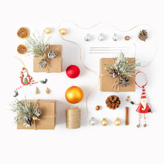 Flat lay set Christmas decoration white background top view