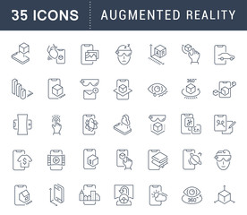 Set Vector Line Icons of Augmented Reality.