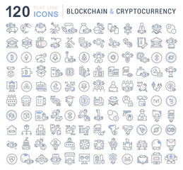 Set Vector Line Icons of Blockchain and Cryptocurrency.