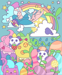 bright magic cute world of little animals and sweets: hares pilots on the plane, seals, pandas among the kingdom of sweets and desserts