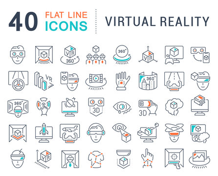 Set Vector Line Icons of Virtual Reality.