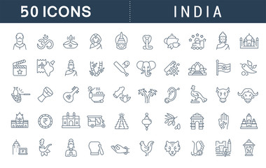 Set Vector Line Icons of India